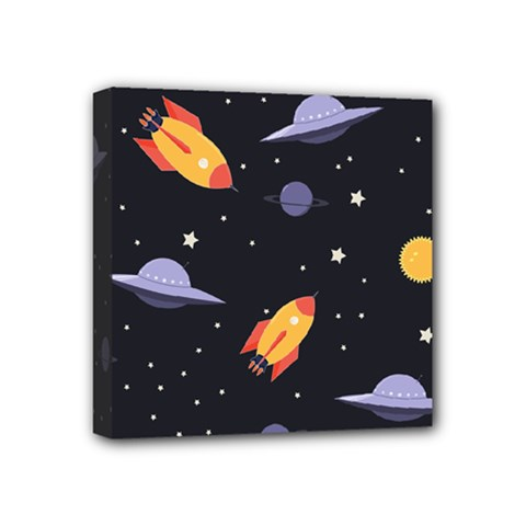 Cosmos Rockets Spaceships Ufos Mini Canvas 4  X 4  (stretched)