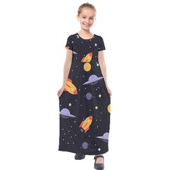 Cosmos Rockets Spaceships Ufos Kids  Short Sleeve Maxi Dress