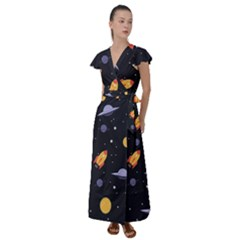 Cosmos Rockets Spaceships Ufos Flutter Sleeve Maxi Dress