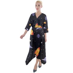 Cosmos Rockets Spaceships Ufos Quarter Sleeve Wrap Front Maxi Dress