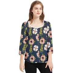 Flower White Grey Pattern Floral Chiffon Quarter Sleeve Blouse