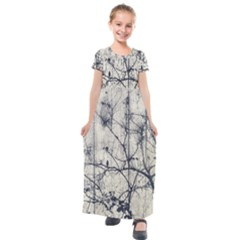 Black And White Botanical Motif Artwork 2 Kids  Short Sleeve Maxi Dress by dflcprintsclothing