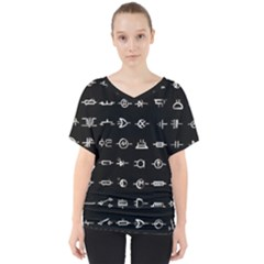 Electrical Symbols Callgraphy Short Run Inverted V-neck Dolman Drape Top