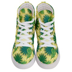 Yellow Tropical Pattern Women s Hi-top Skate Sneakers