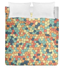 Mosaic Print Yellow Duvet Cover Double Side (queen Size)