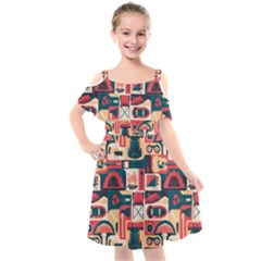 Guitar And Trip Kids  Cut Out Shoulders Chiffon Dress