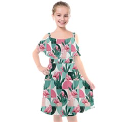 Beautiful Flamingo Pattern Kids  Cut Out Shoulders Chiffon Dress