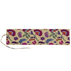 Pretty Ethnic Flowers Roll Up Canvas Pencil Holder (l)