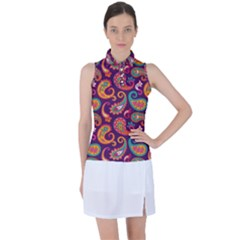 Paisley Purple Women s Sleeveless Polo Tee by designsbymallika