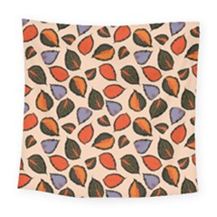 Orange Blue Leaves Pattern Square Tapestry (large)