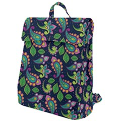 Paisley Green Print Flap Top Backpack