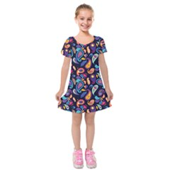 Paisley Baatik Purple Print Kids  Short Sleeve Velvet Dress by designsbymallika