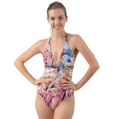 Motif Florale 96676017 10218089188116536 5855340343544774656 O Halter Cut-out One Piece Swimsuit