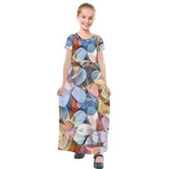 Motif Florale Kids  Short Sleeve Maxi Dress by 300927