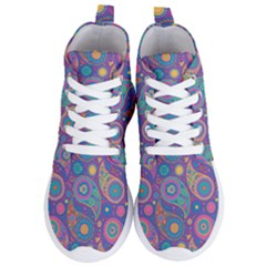 Baatik Purple Print Women s Lightweight High Top Sneakers
