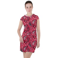 Baatik Red Pattern Drawstring Hooded Dress