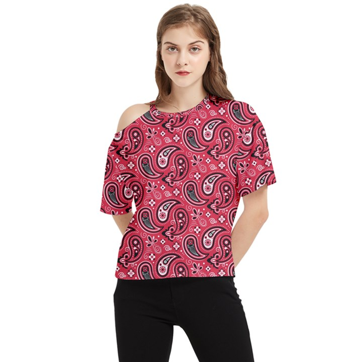 Baatik Red Pattern One Shoulder Cut Out Tee