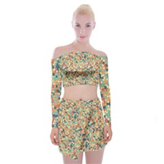 Mosaic Print 2 Off Shoulder Top With Mini Skirt Set