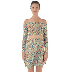 Mosaic Print 2 Off Shoulder Top With Skirt Set
