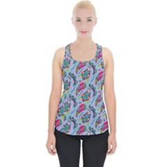 Blue Paisley Print Piece Up Tank Top
