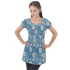 Ceramic Tile Pattern Puff Sleeve Tunic Top by designsbymallika