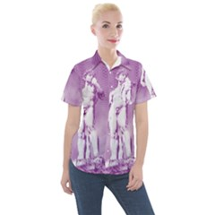 Modul Statue Greek Athlete Vaporwave Women s Short Sleeve Pocket Shirt