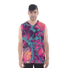 Pink And Turquoise Alcohol Ink Men s Basketball Tank Top