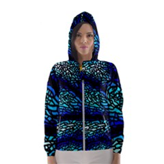 Sea-fans-diving-coral-stained-glass Women s Hooded Windbreaker