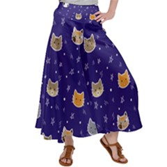 Multi Cats Satin Palazzo Pants
