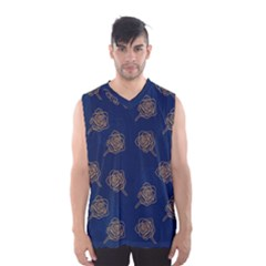 Roses Pattern Blue Color Men s Basketball Tank Top