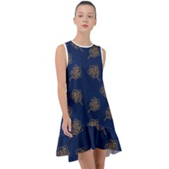 Roses Pattern Blue Color Frill Swing Dress