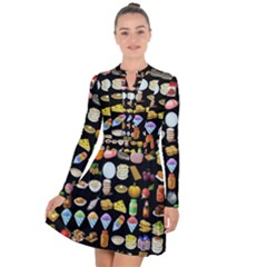 Glitch Glitchen Food Pattern Two Long Sleeve Panel Dress