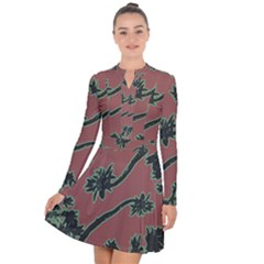 Tropical Style Floral Motif Print Pattern Long Sleeve Panel Dress by dflcprintsclothing