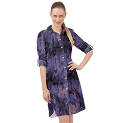 Purple And Yellow Abstract Long Sleeve Mini Shirt Dress