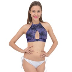 Purple And Yellow Abstract Cross Front Halter Bikini Top