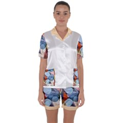 Multifleur Satin Short Sleeve Pajamas Set