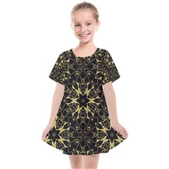 Black And Gold Pattern Kids  Smock Dress by Dazzleway