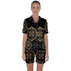 Ornate Black And Gold Satin Short Sleeve Pajamas Set