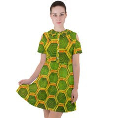 Hexagon Windows Short Sleeve Shoulder Cut Out Dress