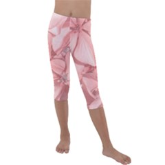 Coral Colored Hortensias Floral Photo Kids  Lightweight Velour Capri Leggings