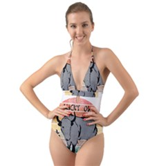 Chinese New Year ¨c Year Of The Ox Halter Cut-out One Piece Swimsuit by Valentinaart