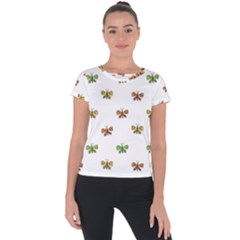 Butterfly Cartoon Drawing Motif  Pattern Short Sleeve Sports Top