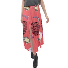 Puzzle Velour Split Maxi Skirt