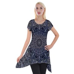 Mellow Mandala  Short Sleeve Side Drop Tunic