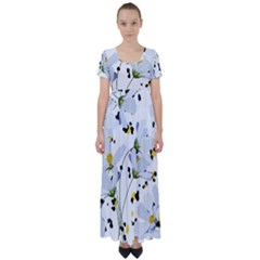 Tree Poppies  High Waist Short Sleeve Maxi Dress by Sobalvarro