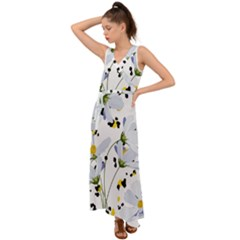 Tree Poppies  V-neck Chiffon Maxi Dress by Sobalvarro