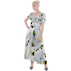Tree Poppies  Button Up Short Sleeve Maxi Dress by Sobalvarro