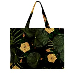Tropical Vintage Yellow Hibiscus Floral Green Leaves Seamless Pattern Black Background  Mini Tote Bag by Sobalvarro