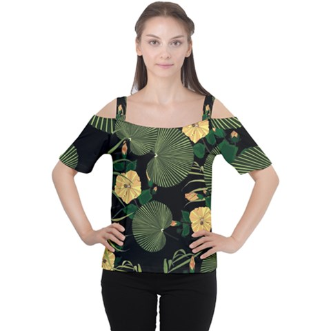 Tropical Vintage Yellow Hibiscus Floral Green Leaves Seamless Pattern Black Background  Cutout Shoulder Tee by Sobalvarro