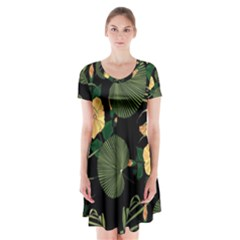 Tropical Vintage Yellow Hibiscus Floral Green Leaves Seamless Pattern Black Background  Short Sleeve V-neck Flare Dress by Sobalvarro